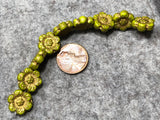 Opaque Olive Wild Rose with Gold Wash Pressed Czech Glass Beads