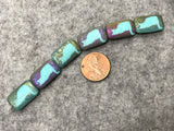 Etched Turquoise Czech Glass Bead with Laser Tattoo Cat and Sliperit Finish