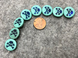 Etched Turquoise Coin Czech Glass Bead with Azuro Laser Tattoo Skull & Crossbones