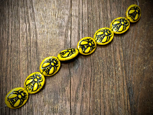 Opaque Yellow Luster Bumble Bee with Black Wash Czech Glass Beads