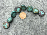 Etched Turquoise Czech Glass Coin Bead with Sliperit/Azuro Laser Tattoo Octopus