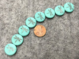 Etched Turquoise Coin Czech Glass Bead with Hematite Laser Tattoo Dragonfly