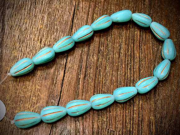 Matte Turquoise Opal Melon Drops with Copper Accents Czech Glass Beads
