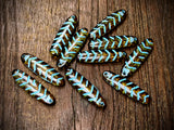 Clear Travertine with Turquoise Wash Glass Chevron Czech Glass Dagger Beads