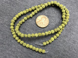 Olive (dyed) Lava 4-4.5mm Round Beads