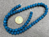 Turquoise (dyed) Lava 6-7mm Round Beads