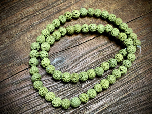 Olive (dyed) Lava 6-7mm Round Beads