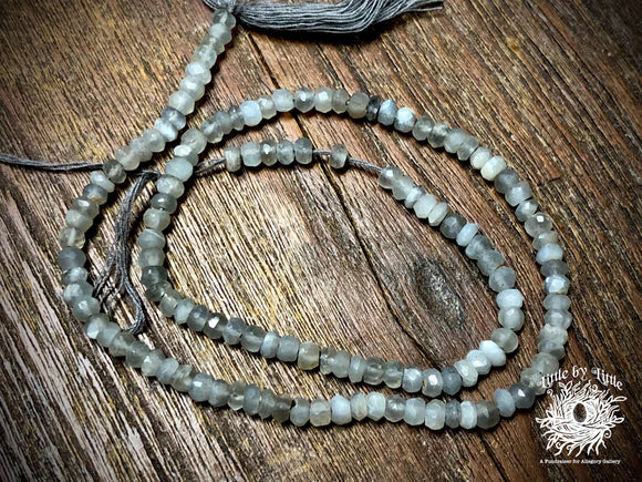 Labradorite 3x2mm-4x3mm Hand-Cut Faceted Rondelle Beads