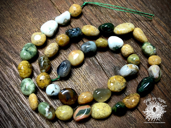 Ocean Jasper 8x10mm Pebble Beads