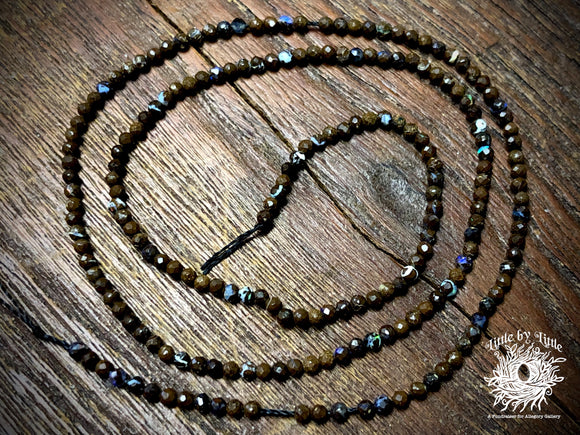 Natural Australian Boulder Opal 2mm Diamond Cut Faceted Round Beads