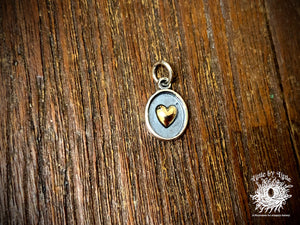 Sterling Silver Shadow Box Charm with Bronze Heart