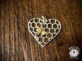 Sterling Silver Honeycomb Heart with Bronze Bee Charm