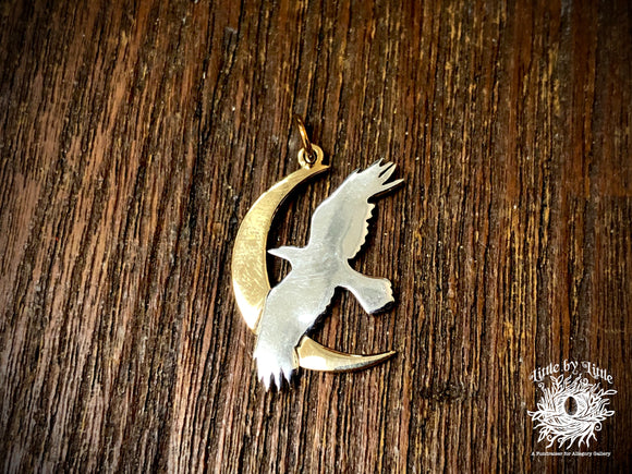 Sterling Silver Raven/Crow with Bronze Moon Charm