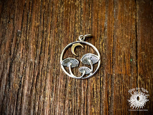 Sterling Silver Mushrooms with Bronze Moon Charm