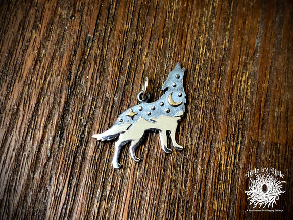 Sterling Silver Howling Wolf with Mountains and Bronze Star and Moon Charm