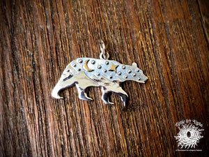 Sterling Silver Bear with Mountains and Bronze Star and Moon Charm