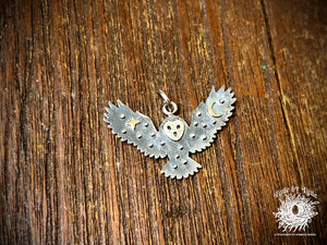 Sterling Silver Flying Owl with Bronze Star and Moon Charm