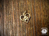 Bronze Openwork Heart with Paw Print Charm