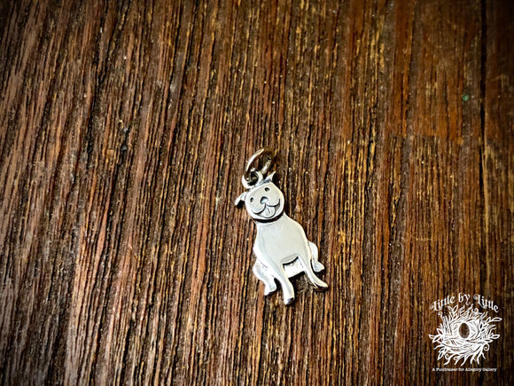 Sterling Silver Pitbull Dog Charm