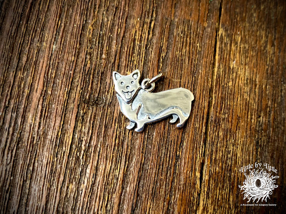 Sterling Silver Corgi Dog Charm