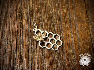 Sterling Silver Honeycomb with Bronze Bee Charm