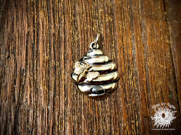 Sterling Silver Beehive with Bronze Bee Charm
