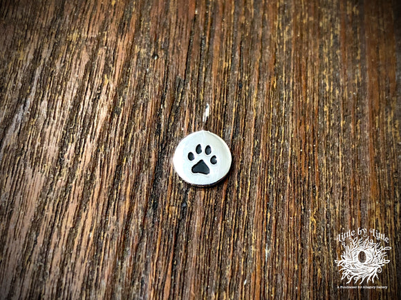 Silver Plated Bronze Paw Print Charm