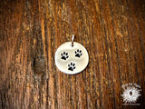 Silver-Plated Bronze Three Paw Print Charm