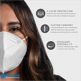 5-Layer Face Mask Made In USA - White / Black (10 pcs/pk)