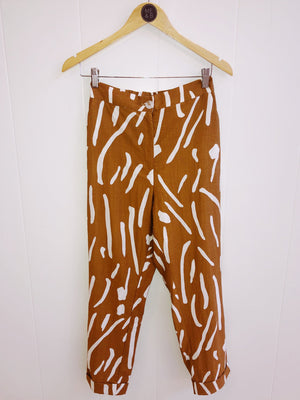 Camel Brushstroke Tapered Pants