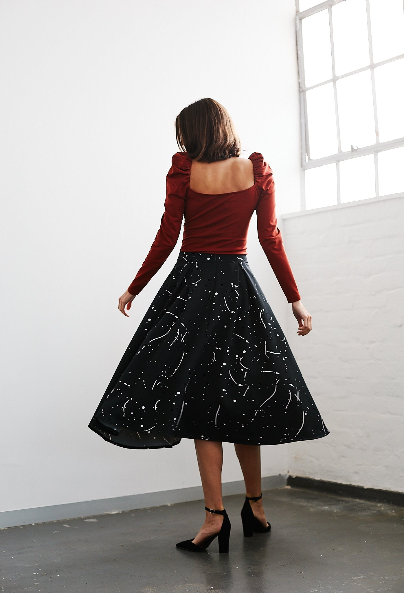Paint Splatter Deep Pleat A-line Skirt