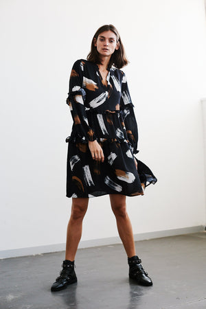 Brush Stroke Print Prairie dress