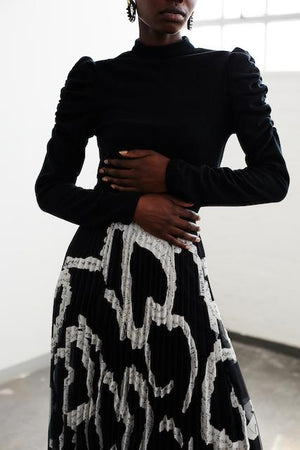 Torn Print Organza Pleated Skirt