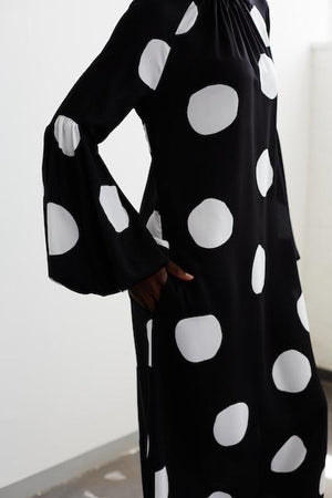 Spot Bellow Sleeve Maxi dress