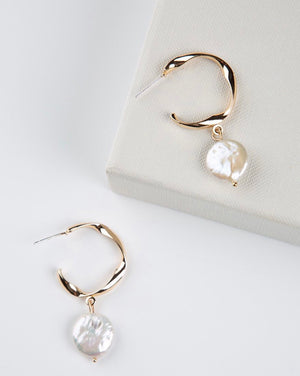 Fresh Pearl Twisted Hoop Earrings