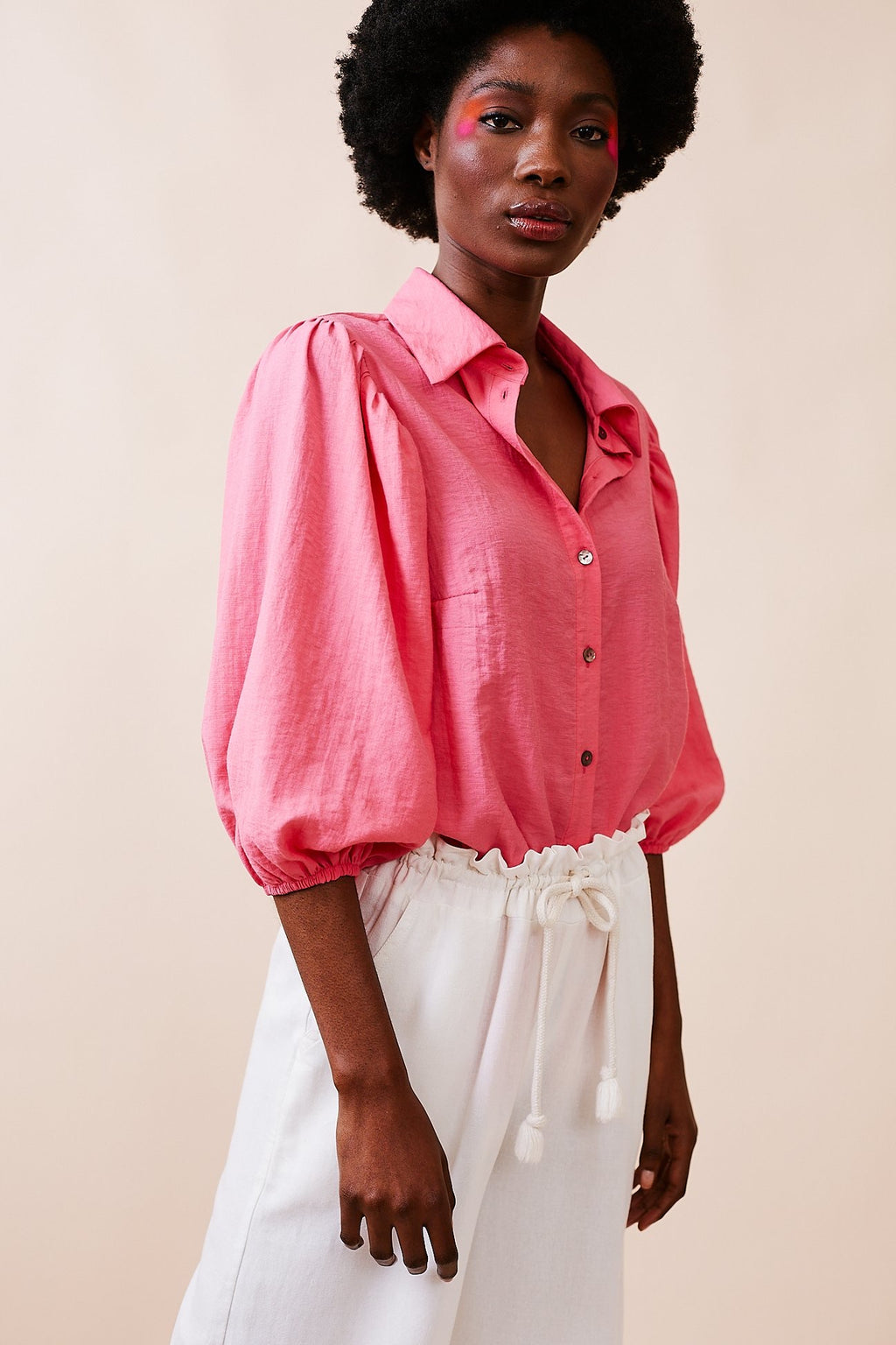 Pink Linen Blend Shirt with Puff Sleeve