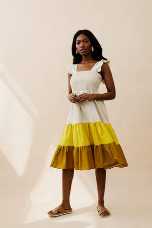 Colourblock Cotton Shirred Bodice Dress with Frill Sleeves