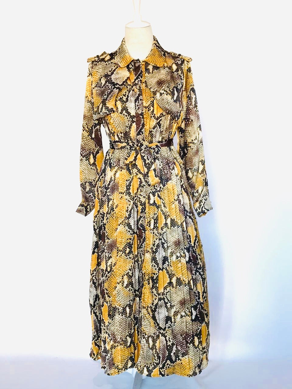 Yellow Snake Coat Dress