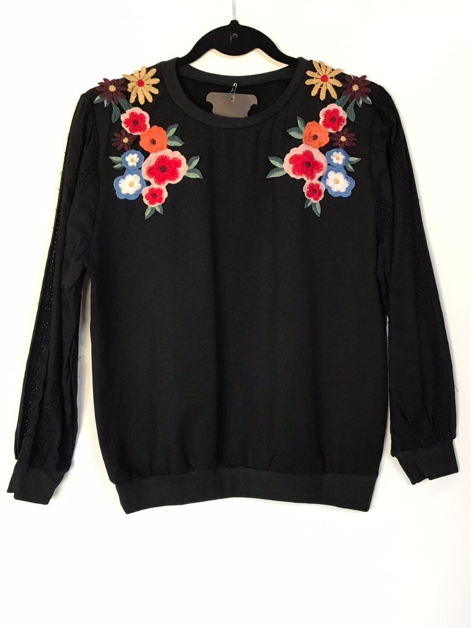 Floral Detail Sweat Shirt