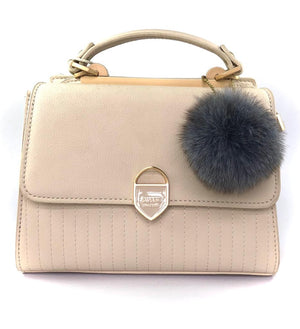 Box handbag with pompom detail