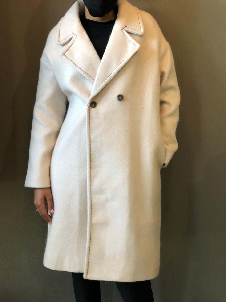 Cream Coat with stitch detail