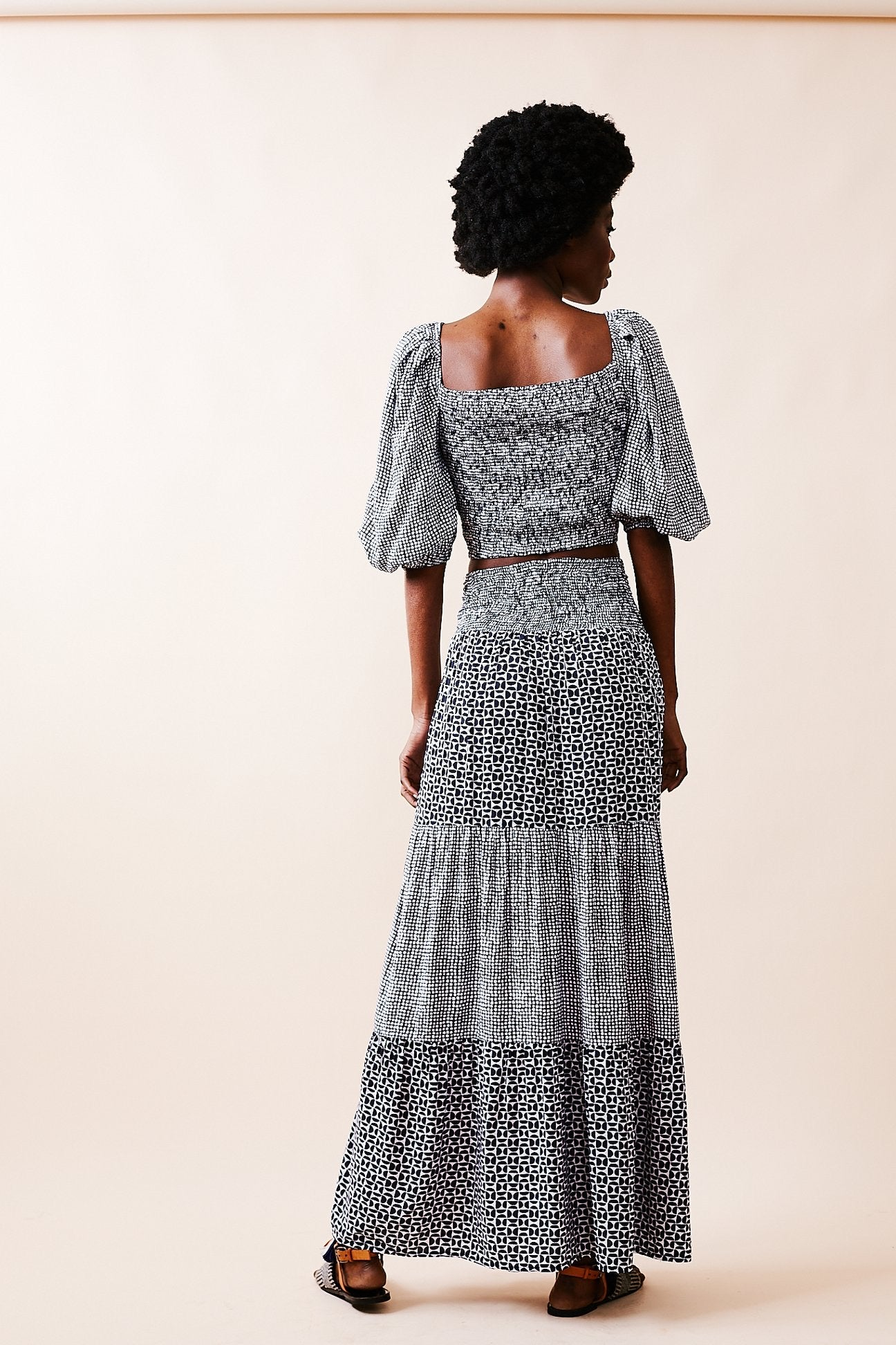 Print Mixing Tiered Maxi Skirt