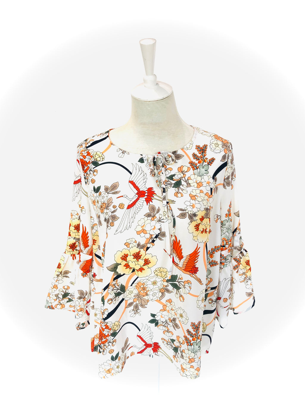 Printed Top with Bird and Floral Print