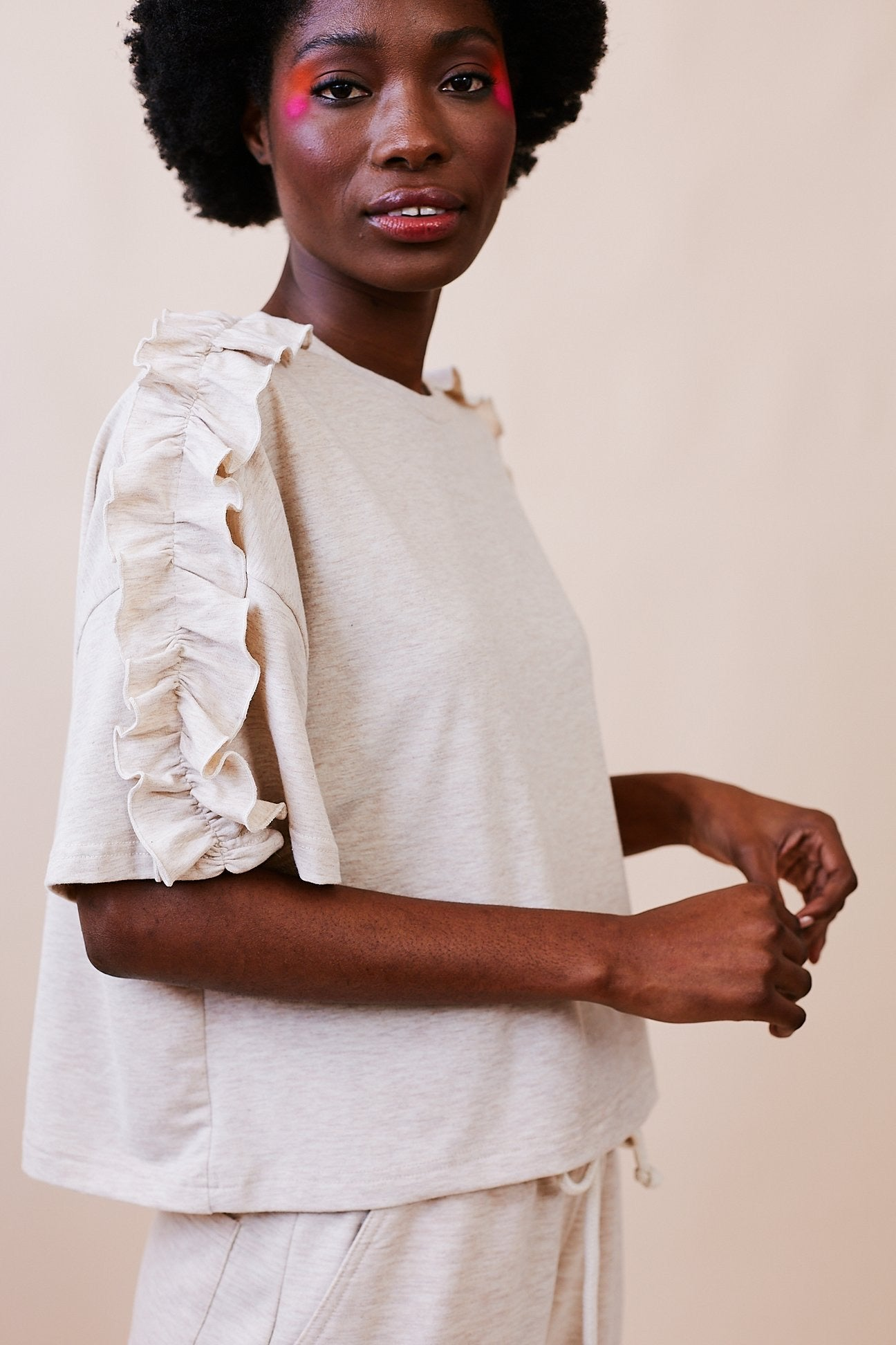 Oversized Tee with Pie-Crust Detail