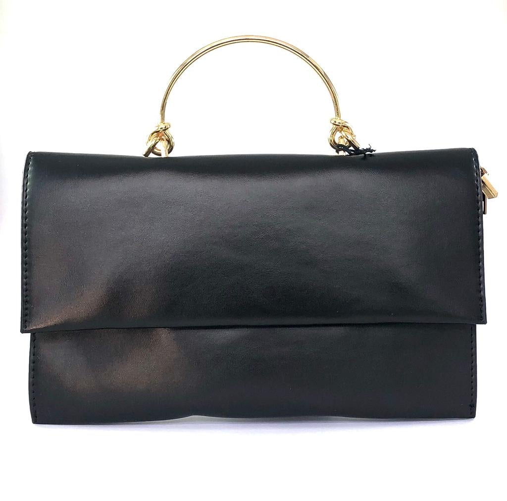 Black clutch with gold handle