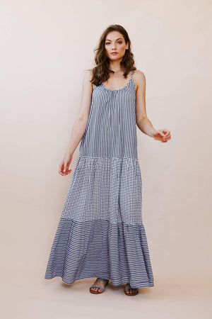 Print Mixing Maxi Sundress with Back Detail
