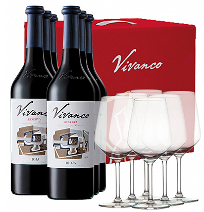 Pack Vivanco Reserva 2012 (6 bot. + 6 Copas)