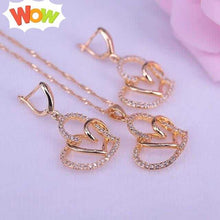Load image into Gallery viewer, Heart in heart square gold color jewelry drop earrings necklace set for women