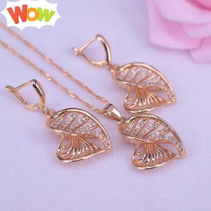Heart in heart square gold color jewelry drop earrings necklace set for women