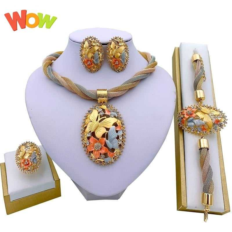 Jewelry Charm Necklace Earrings Dubai Gold Jewelry Sets for Women
